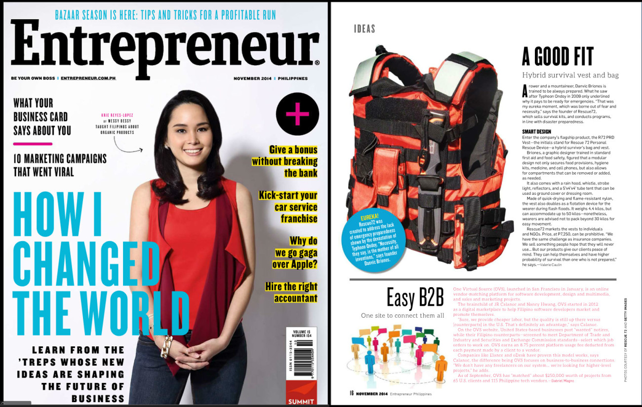 Rescue72 Featured on Entrepreneur Magazine Philippines November 2014 Issue